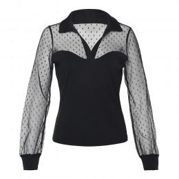 Sexy z długim rękawem w stylu Vintage Polka Dot Mesh przezroczysta bluzka koszula przepuszczalność kobiet popy i bluzki eleganck