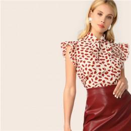 SHEIN elegancka czerwona muszka szyi wykończone frędzlami płatek drukuj bluzka kobiety lato 2019 urząd Lady odzież robocza bluzk