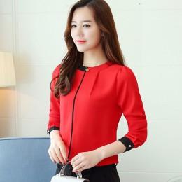 Szyfonowa bluzka damska bluzka 2019 z długim rękawem czerwona odzież damska biuro bluzka dla pań bluzki damskie koszula damska B