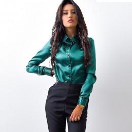 Blusa kobiety bluzka eleganckie wino czerwona zielona satynowa koszula skręcić w dół kołnierz długi rękaw kobiet formalne biuro
