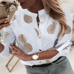 Kobiety druk ananasowy bluzka przycisk koszule damskie jesień z długim rękawem swobodny Top Sexy damskie topy i bluzki podstawow