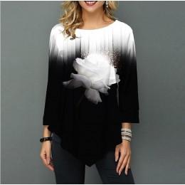 Koszula bluzka damska wiosna letni nadruk koszula 3/4 rękaw Casual Hem nieregularność kobieta modna koszula topy Plus rozmiar