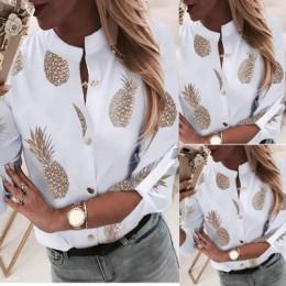 Ananasowa bluzka koszula damska Ananas białe bluzki z długim rękawem kobieta 2019 damska bluzki i bluzki elegancki top kobieta j
