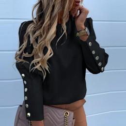 Elegancka damska bluzka z guzikami koszula biurowa, damska O Neck Print Blusa bluzki jesień damska bluzka z długim rękawem Stree