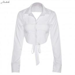 Macheda wiosna Sexy Backless zasznurować bluzki Top kobiety z długim rękawem jesień biały skręcić w dół szyi krótka koszula bluz