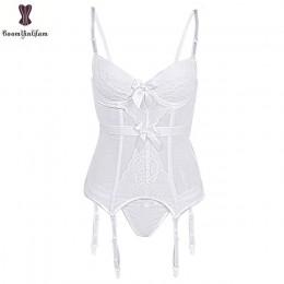 Biustonosz usztywniany bielizna gorset Sexy kobiety koszula nocna pas odchudzający koronkowa przezroczysta elastyczna bez kości