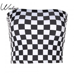 Weekeep kobiety czarno-biała chusta Sexy top bez rękawów 2017 moda szachownica przycięte topy bez ramiączek bielizna biustonosze