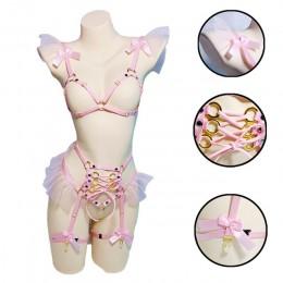 Z różową kokardką szyfonowa stanik z uprzężą Kawaii otwórz biust Top Bondage Body Cage bielizna pastelowy Punk uprząż na ciało k