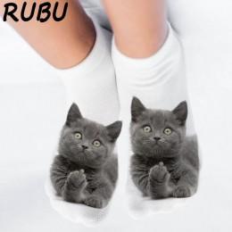 RUBU damskie śmieszne zwierząt śliczne 3D drukuj skarpetki damskie skarpetki skarpetki uniseks Hot kobiety moda Sox kot kreskówk