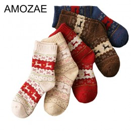 1 para ciepłe skarpetki damskie w paski 3D skarpetki w stylu jesienno-zimowym świąteczne skarpety zimowe dla kobiet kobieta szcz