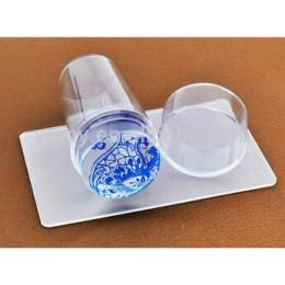 Gorący sprzedawanie projekt czysta wyczyść galaretki silikonowe Nail Art Stamper skrobak z Cap przezroczyste 2.8cm Nail Stamp st