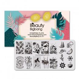 Beautybigbang paznokci tłoczenia płyty 6*12cm ze stali nierdzewnej lato syrenka ananas obraz tłoczenia wzornik dla Nail Art XL-0