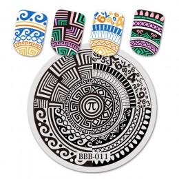 BeautyBigBang żel do paznokci Art Stamp szablon okrągły kwadratowy płytki do tłoczenia paznokci lody na lato wzór Nail Art Stamp