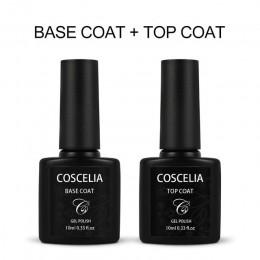 COSCELIA Top płaszcz podstawowy zestaw 10ML na żelowy lakier do paznokci Vernish Semi Permanant Uv na żel do malowania paznokci