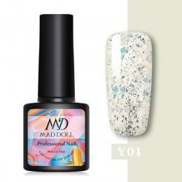 MAD DOLL Glitter żelowy lakier do paznokci UV cekiny żelowy lakier do paznokci Soak Off UV LED lakier żelowy kolorowy 8ml polski