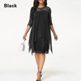 Plus rozmiar sukienki szyfonowe kobiety nowe mody szyfonowa nakładka rękaw 3/4 szwy nieregularne brzegi koronki sukienka