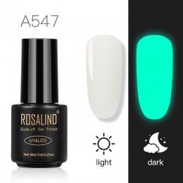 ROSALIND żel neonowy do paznokci polski Luminous hybrydowy lakier do paznokci Manicure Top baza żel do żel do paznokci lakier do
