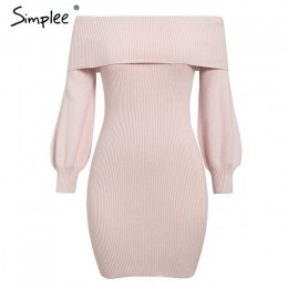 Simplee elegancka damska dzianinowa sukienka z długim rękawem damska jesienno-zimowa miękki sweter sukienka Chic ladies office v