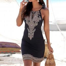 Sukienka damska letnia sukienka Halter Neck Boho drukuj bez rękawów Casual Mini kostiumy kąpielowe Sundress Plus rozmiar Jupe da