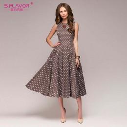 """S. FLAVOR kobiety sukienka vintage bez rękawów, dekolt w kształcie litery """"o"""", 2020 lato Vestidos kobiety elegancka, w kropki dr"""