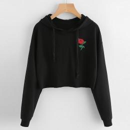 Jesienne bluzy damskie 2019 róża haftowana bluza z długim rękawem bluzy sweter damski jesień swetry bluzy 5 $