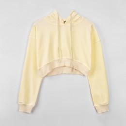 Solidna szara Crop Top z kapturem damska bluza Batwing z długim rękawem zasznurować kobiety bluzy Sexy 2020 moda jesień ubrania