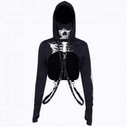 InstaHot Gothic Punk bluzy z kapturem damskie czarne z nadrukiem szkieletu maska z długim rękawem krótkie bluzki 2019 modna kosz