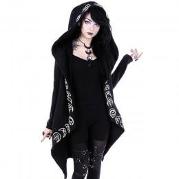 Gothic Punk czarne długie bluzy damskie bluzy 2019 jesień nadruk z księżycem bluza z długim rękawem kobiety luźny płaszcz bluza