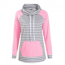 Bluzy damskie jesień z długim rękawem bluza damska moda w paski nadrukowany sweter Femme Casual topy z kapturem WS3781C