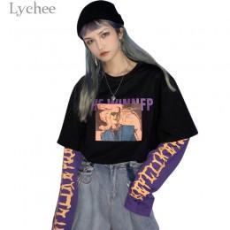 Lychee Vintage fałszywe 2 kawałki postaci list kobiet bluza hit kolorowy O-Neck z długim rękawem jesień Casual luźne damskie swe