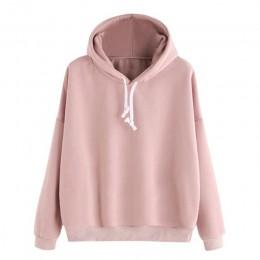 Moda damska jesień bluza z kapturem sznurkiem jednolity kolor, długi rękaw luźne bluzki z kapturem pulowerowe topy dres w stylu