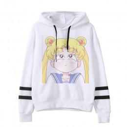 Sailor moon bluza z kapturem cat harajuku 2019 koreański styl ulzzang kawaii 90s odzież z nadrukiem kreskówki swetry ponadgabary
