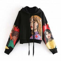 Aachoae Streetwear nadruk liter bluzy z kapturem damskie z długim rękawem luźne bluzy pulowerowe topy jesień wiosna Sudadera Muj