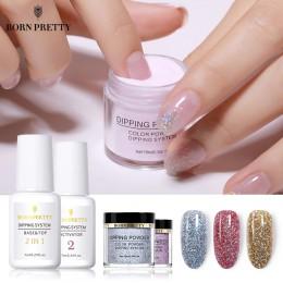 BORN PRETTY do maczania paznokci proszki podstawa płaszcz gradientu paznokcie typu french naturalny kolor holograficzny brokat u