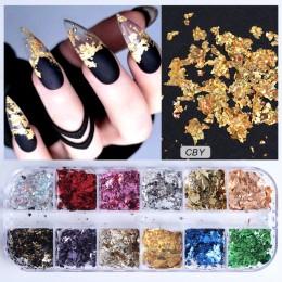 12 siatka paznokci cekiny błyskotka aluminium nieregularne płatki złoty Pigment zdobienie paznokci dekoracje lustro Glitter foli