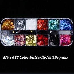 Lustro świecący motyl paznokci cekiny błyskotka mieszane kolorowe paznokcie holograficzny brokat 3D płatki plastry akcesoria art