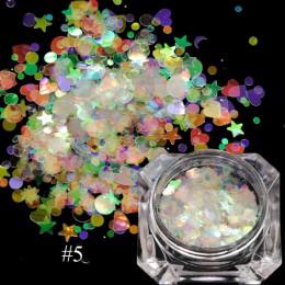 1 box holograficzny Glitter Mix gwiazda okrągłe płatki serca syrenka lustro nieregularne błyskotka cekiny 3D dekoracja paznokci