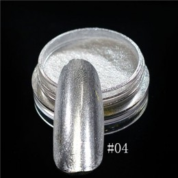 1 sztuk srebrne lustro magiczny proszek pigmentowy Manicure pył błyszczący żel polski Nail Art Glitter Chrome proszek płatek dek