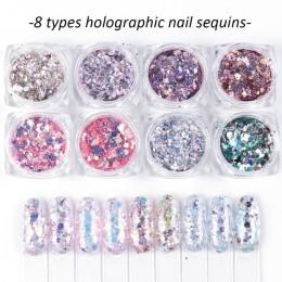 1 zestaw holograficzny paznokci brokat zestaw proszek pigment do paznokci DIY płatek paznokci dekoracje artystyczne żel pyłu Man