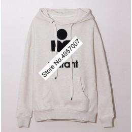 Najnowsza bawełna bluza z kapturem w stylu oversize-Top Quality Women Front Letter flokowanie pulower Top z kapturem