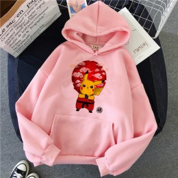 Śmieszne Pokemon Pikachu bluza z kapturem Pika bluza Kawaii odzież damska 90s Ullzang ubrania w stylu Harajuku swetry Cartoon mę