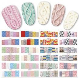 12 sztuk/zestaw Beauty sweter tkanina naklejka ze wzorem woda Transfer naklejki do paznokci paznokcie naklejki kolorowe etykiety