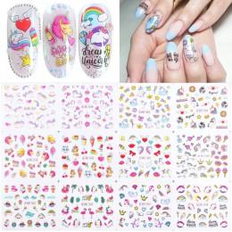 12 sztuk woda paznokci naklejki Flamingo kreskówka projekt woda naklejka suwaki okłady narzędzie Manicure dekoracja paznokci por