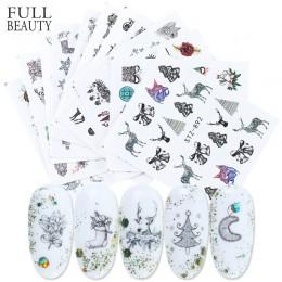 12 sztuk czarny zima paznokci naklejka artystyczna zestaw wody ełk płatki śniegu gwiazda suwak dekoracji urok kwiat na boże naro