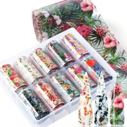 10 sztuk kwiaty liść folie do paznokci naklejki do zdobienia paznokci wzory Manicure naklejki Transfer okłady akcesoria TRXKH40-