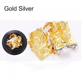 12 kolorów złoto srebro nieregularny papier z folii aluminiowej paznokci naklejka artystyczna 3D brokat DIY lakier żelowy uv paz