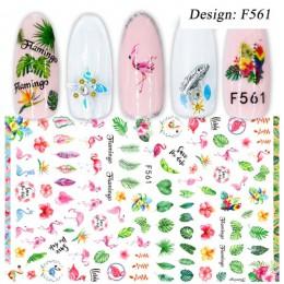 1pc naklejka do paznokci czarne litery woda suwak kwiat Flamingo lato Nail Art kalkomanie transferowe Manicure okłady folie narz