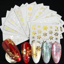 16 sztuk/zestaw złoto srebrne płatki śniegu naklejki do paznokci naklejki wodne świąteczne dekoracje artystyczne do paznokci 3D
