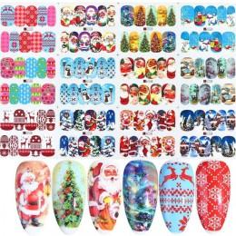 12 sztuk świąteczne naklejki do paznokci święty mikołaj ełk Snowman woda Transfer naklejka Xmas Cartoon zima nowy rok narzędzie