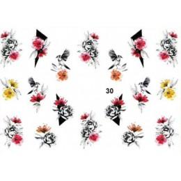 3D akrylowe grawerowane naklejka do paznokci kolorowe mix kształt kwiat woda naklejki Empaistic paznokci woda slajdów naklejki Z